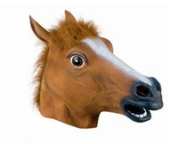 Wholesale headgear costume for sale - Group buy Creepy Cosplay Horse Head Mask Headgear Halloween Costume Theater Prop For Party Make Up Decorate Horses Masks Latex Rubber