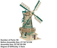modelo de juguete molinos de viento al por mayor-Nueva Asamblea DIY Educación Juguete Modelo de madera 3D Puzzles para niños Regalos de Dutch Windmills House