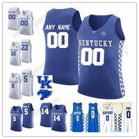 camisas de basquete azul venda por atacado-Personalizado Kentucky Wildcats 0 Aaron Fox 14 Tyler Herro College Basquete Costurado Qualquer Nome Número azul royal branco Mens Juventude Jersey