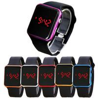 espejo de silicona relojes al por mayor-Caliente nuevo espejo cuadrado banda de silicona reloj digital rojo aleación shell reloj LED reloj de cuarzo reloj deportivo horas WCW068