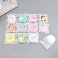 Makeup Mini Mirrors Dressing Pocket Mirror Cute Cartoon Pattern Portable Compact Cosmetic Small Mirrors Beauty Tools Women