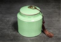 caixas de armazenamento de mídia venda por atacado-Frasco de chá 2019 Ge forno de armazenamento de chá pote caixa de embalagem de vedação de primavera criativo médio vasilha de chá de cerâmica