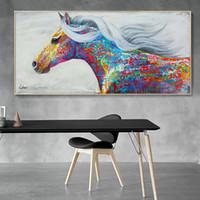 obra de arte de pared grande al por mayor-Moderno caballo colorido lienzo obra pintura al óleo del caballo impresión en lienzo cartel de la pared de lona grande para la sala de estar casera decoración