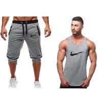 ingrosso corti da jogging maschili-Fahion nuovo tuta da uomo bicolore pantalone + canotta estate fresca felpe vestito maschio chandal hombre jogging homme suit 2019