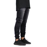 ingrosso jeans per jogger-Moda Uomo Jeans Marca Stretch Jeans uomo Denim Streetwear Jogger Design Hip Hop Joggers Abbigliamento uomo magro