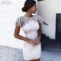 ingrosso bendaggio del diamante-Adyce New Summer Bandage Dress 2019 Donna Celebrity Evening Party Dress Vestido Sexy Perline Bianco Diamond Mini Runway Club Dress T3190613