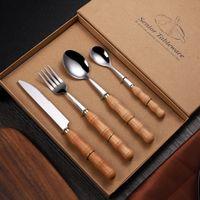 çatal kaşık hediye seti toptan satış-Ahşap Sofra Takımı Bıçak Ve Çatal Kaşık Dinnerware Paslanmaz Çelik Düğün Favor Hediye Steak Bıçak ZZA1208 ayarlar Kulp
