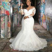 Wholesale wedding dresses for plus size bridal for sale - Group buy 2020 Elegant African Long Sleeves Lace Plus Size Mermaid Wedding Dresses Scoop Neck Tulle Applique Country Boho Bridal Gowns For Garden