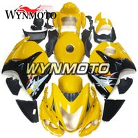 sarı siyah hayabusa fairing toptan satış-Suzuki GSXR1300 2008 Enjeksiyon Hayabusa Motosiklet Kaporta 2008 2009 2010 2011 2012 2013 2014 2015 2016 Altın Sarı Siyah Kaputlar Hulls