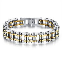 Wholesale mens 316l bicycle chain resale online - Biker L Stainless Steel Mens Bracelet Fashion Sports Jewelry Bike Bicycle Chain Link Bracelet Casual Jewellery Color