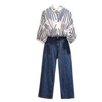primavera verano mujer trajes elegantes al por mayor-Blusa + Denim Jeans Pant mujeres de la oficina de trabajo 5XL 4XL 2019 de primavera y verano de dos piezas de la camisa rayada de las mujeres Conjunto elegante traje delgado