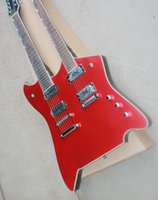 Wholesale custom electric guitar necks online - Red string double neck electric guitar with rosewood arm white binding custom service