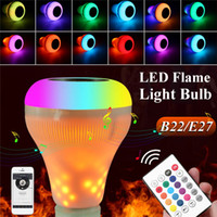 Wholesale effects phone online - E27 LED Lamp Speaker Yellow Colorful LED Music Flame Effect Light Bulb Wireless Bluetooth Speaker with Wireless Remote Control