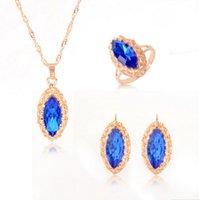 ensembles de bijoux en cristal dames achat en gros de-ZOSHI Long Blue Crystal boucles d'oreilles collier réglable bague ensemble or couleur Drops boucles d'oreilles collier ensemble élégante Lady Jewelry Set