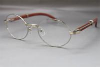 Wholesale 7550178 Wood Eyeglasses designer Glasses frame women Hot with box Frames vintage Glasses Unisex Hot Size:55-22-135mm Silver