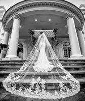 marfim 2t rendas catedral casamento véus venda por atacado-Laço nupcial dos véus do casamento branco do marfim da capela da catedral simples com a noiva 2T 3m do pente personalizada por muito tempo