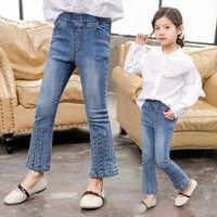 ingrosso jeans camicie lunghe stile di moda-2019 Sping Fashion Style For Kids Girls Of Lace Camicia a maniche lunghe a lanterna + Pantaloni jeans elasticizzati Imposta abiti morbidi per bambini W64