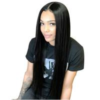 dantel peruk yapışkan saçlı saç toptan satış-360 Dantel Frontal Peruk Düz Brezilyalı Dantel Ön İnsan Saç Peruk Bebek Saç Ile Ön Koparıp Tutkalsız Remy Saç Dantel Peruk
