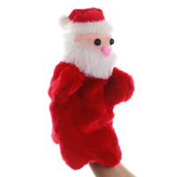 Wholesale baby s doll resale online - Christmas Hand Puppet Cartoon Santa Claus Plush Puppets Doll Baby Plush Toys Kid Plush Hand Puppet Toys DWD740