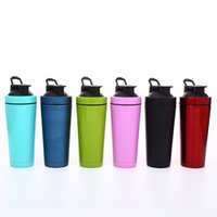 Wholesale mixer bottle resale online - 750ml Stainless Steel Double Wall Vacuum Insulated Fitness Mixer Blender cup Protein Powder Shaker Bottle For Gym