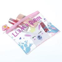ingrosso casi bellezza vanità-Cute Cartoon Unicorn Makeup Bag Donne Cosmetic Bag Zipper trasparente Make Up Pouch Viaggi Toiletry Organizer Beauty Vanity Case
