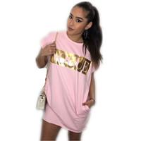 damen t-shirt kleider großhandel-Damen Kleider Weibliche T-Shirt Kleider Kurzarm Brief Drucken Damen Rock Mode Lässig Frauen Kleid Größe S-XL