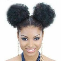 Wholesale black women ponytail extensions for sale - Group buy 5 Inch High Afro Puff Ponytail Drawstring Short African American Synthetic Kinky Curly Hair Extension for Black Women
