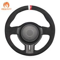 cubiertas de volante de gamuza negra al por mayor-1 DIY Custom Mewant Black Suede White Red Marker Car Steering Wheel Cover para Toyota 86 Subaru BRZ