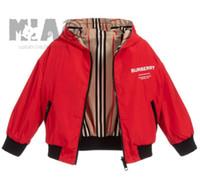 büyük erkekler hoodie toptan satış-Yeni çocuk marka B harfi tasarım ceket erkek kız lüks pamuk high-end ceket hoodie büyük ekose artı kadife hoodie jacket90 / 150