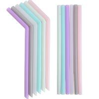 plier les pailles achat en gros de-Silicone paille à boire multi-couleur paille de silicone réutilisable plié Bent Straight Straw Accueil Bar Accessoire tube de silicone T2I5242