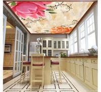 Wholesale chinese dining room wallpaper resale online - 3D custom silk zenith ceiling photo mural wallpaper Marble jade lotus peony living room dining room ceiling zenith mural papel de parede