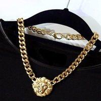 indischer halskettenentwurf großhandel-indian Schmuck Frauen Pullover Löwe-Ketten-Halskette Design Anhänger Halskette Schmuck Accessoires-Tropfen-Verschiffen