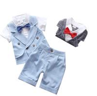 terno de aniversário do bebê venda por atacado-Senhores de verão Roupas com gravata do bebê 2-7 anos crianças terno formal bebê menino com decote em V camisa + shorts calças 2 pcs conjunto de roupas terno de aniversário