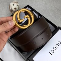 Wholesale fashionable men s clothing for sale - Group buy Fashionable luxury leather belt for men and women brand gold letter new oval buckle black brown two colors can choose high quality clothing