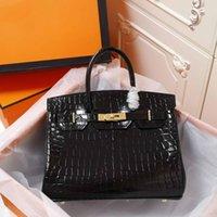 bolsas de couro brilhantes venda por atacado-moda clássica mulher de luxo designer bolsas brilhante Crocodile Clutch sacos sacos de ombro de alta qualidade bolsas de couro genuíno bolsa saco de 30
