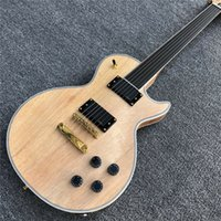 Wholesale natural guitars resale online - Custom shop Natural Solid mahogany Fretless Electric Guitar Ebony fingerboard