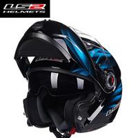 lentes cascos ls2 al por mayor-Envío gratis LS2 FF370 Los hombres levantan el casco del casco de la motocicleta con doble escudo interior con lentes de sol modulares cascos de carreras de motocicletas homologados por Europa de ECE