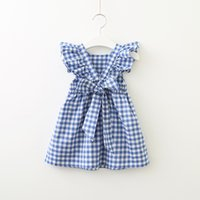 Wholesale neck bow for babies resale online - 2019 Summer Hotsale Dress for baby girl Plaid Backless Ruffle Sleeve Back bowknot Cross Cotton Pink Blue Girl Gift Boutique