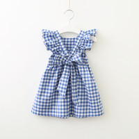 mavi ruffle elbiseleri toptan satış-2019 Yaz Hotsale Elbise bebek kız için Ekose Backless Fırfır Kollu Geri ilmek Çapraz Pamuk Pembe Mavi Kız Hediye butik