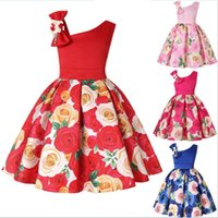 Wholesale baby girl rose lace dress for sale - Group buy Big Bow Sloping Shoulder Dress for Kids Birthday Party Baby Girls Clothing Blue Red Rose Flower Print Gown Dresses year old children