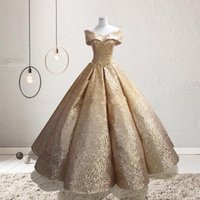 lüks quinceanera elbiseleri toptan satış-2020 Balo Quinceanera Modelleri Lüks Altın Off-omuz Tam Boy Hüsniye Moda Sweety 15 Kız Masquerade Abiye