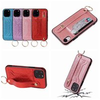 Wholesale leather wrist phone holder resale online - Push Wrist Grip Bling Glitter Leather TPU Case For Iphone Pro Max XR XS X ID Card Slot Shockproof Luxury Strip Holder Phone Cover