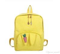 рюкзак школьный с рисунком оптовых-Cute Girl Личность Морковь Pattern Холст Рюкзаки Мультфильм Мода Большой Емкости Многоцветный Студент Школьные Сумки Открытый Дорожные Сумки