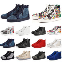 ingrosso migliori scarpe da ginnastica alte-Miglior hotel di lusso di qualità scarpe da ginnastica rosse Bottoms CASUALI scarpe chiodate Lourivets piatte Jeans Spike Sneakers High Top Outdoor Walking Spikes piatte
