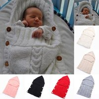 baby mädchen bunting großhandel-Neugeborenes Baby Schlafsäcke Infant Bunting Taschen Taste Decke Wolle gestrickte junge Mädchen Verdickung Abdeckung Schlafsack 32