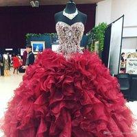 elbiseler kristal organze toptan satış-Lüks Kristal Boncuklu Sevgiliye Organze Ruffles Abiye Quinceanera elbise 2019 Bordo Vestidos De 15 Anos Abiye tatlı 16 elbiseler