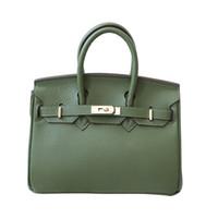 saco crossbody verde do exército venda por atacado-20 cm25 cm30 cm35 cm couro lychee exército verde saco de platina bolsa mais popular do designer das mulheres elegante sacos de ombro Crossbody