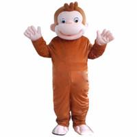 yetişkin fantezi halloween maymun kıyafeti toptan satış-Yüksek kalite sıcak Meraklı George Maymun Maskot Kostümleri Karikatür Fantezi Elbise Halloween Party Kostüm Yetişkin Boyutu