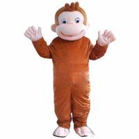 trajes de macaco para adultos venda por atacado-Alta qualidade quente Curioso George Macaco Mascote Trajes Dos Desenhos Animados do Vestido Extravagante Traje Do Partido Do Dia Das Bruxas Adulto Tamanho