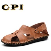 мужская мода кожаные тапочки оптовых-CPI  Men Casual Beach Shoes High Quality Summer Sandals Soft Sole Fashion Men Genuine Leather Slippers Flip Flops VV-51